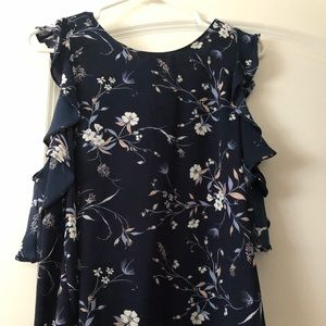 Navy floral off shoulder blouse